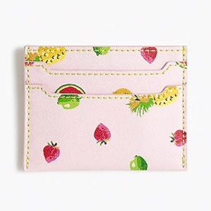 NWT J.Crew • Fruit Salad Print Leather Card Case